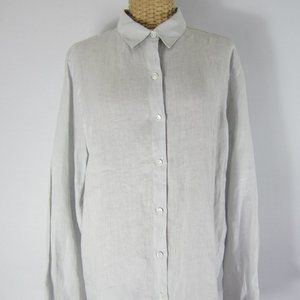 J. Jill Medium Dove Gray LS Linen Tunic Shirt